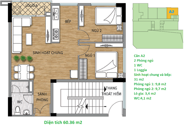 Căn hộ A2 diện tích 60,36 m2 tầng 2 Valencia Garden
