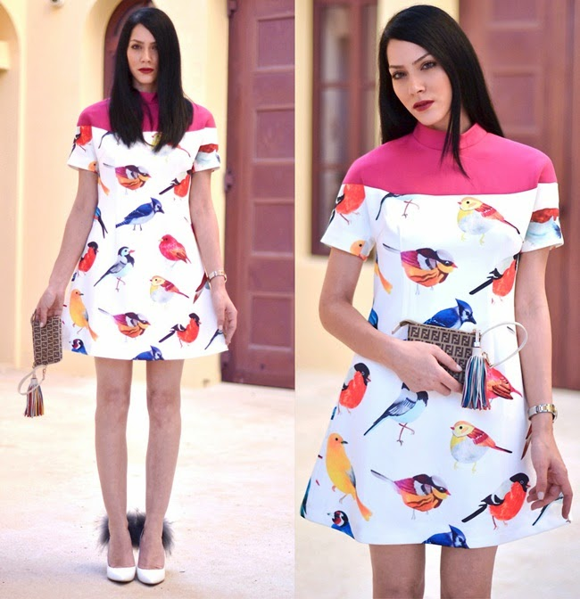 Chictopia 2013 AW White Contrast Red Short Sleeve Birds Print Dress