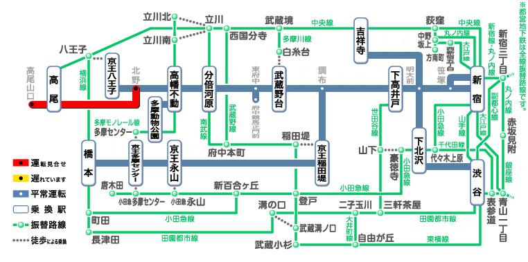 京王電鉄 高尾線運休