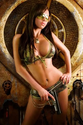 camo babe with handgun