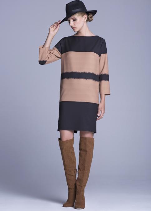Φορεμα απογευματινο σε καμελ & μαυρο   /διαθεσιμο σε size:48