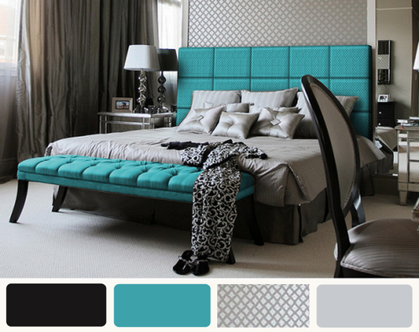 Black turquoise and white bedroom ideas home decorating for Black and grey bedroom ideas