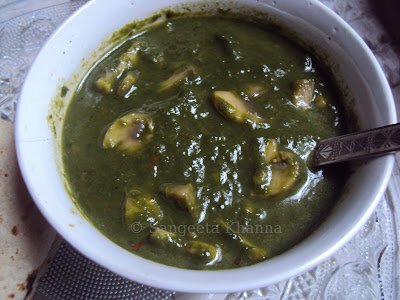 mushrooms and spinach soup ......khumb palak..