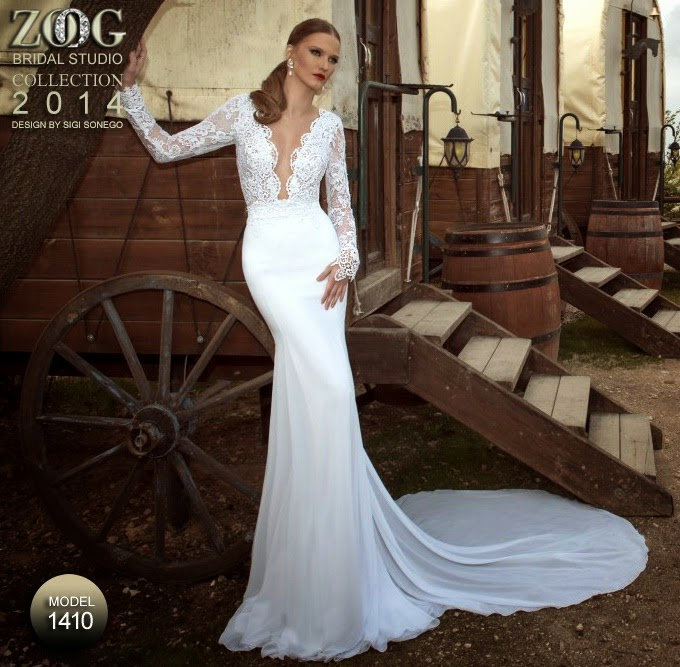 bridal in slim wedding gown style by zoog studio collections 2014