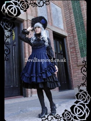 Gothic Navy Blue and Black Rococo Lolita Dress
