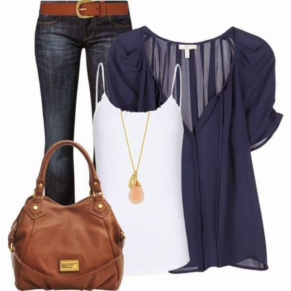 Amazing white blouse, jeans, brown handbag and locket combination