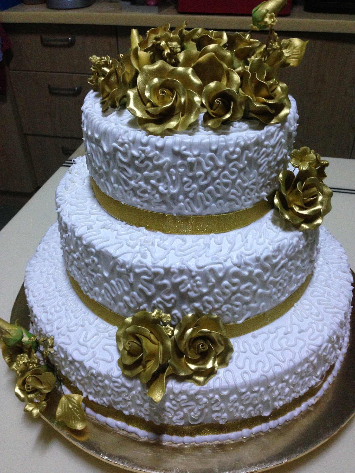 Homemade sweet treats Gold theme wedding cake