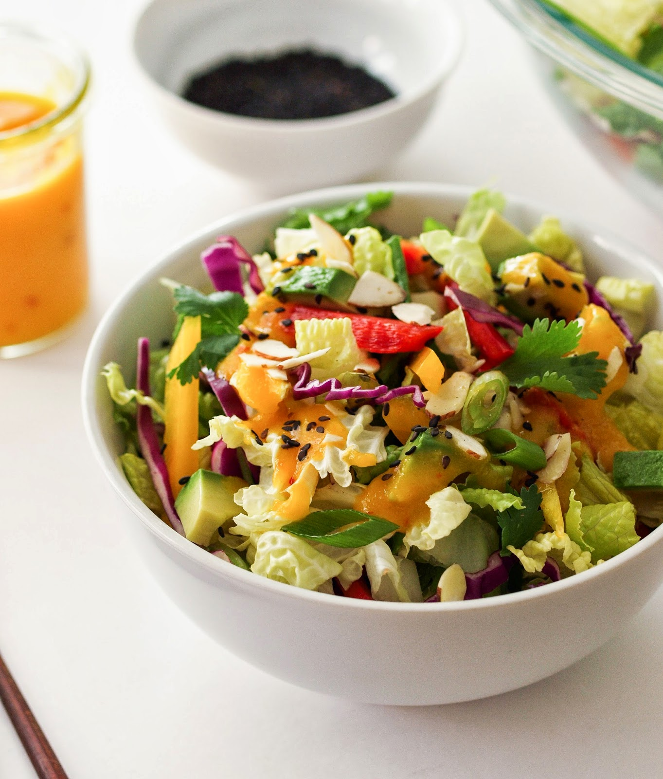 Asian Rainbow Salad + Spicy Mango Dressing