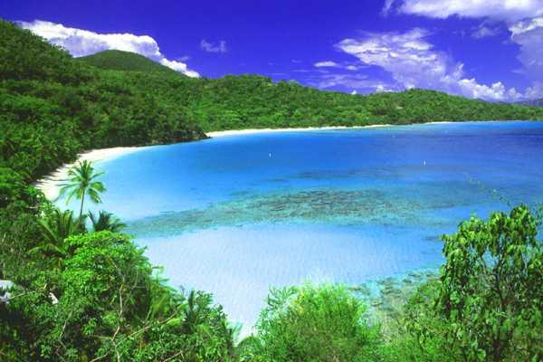 Caribbean best beaches in the world, Trunk Bay, St. Johns, Virgin islands,
