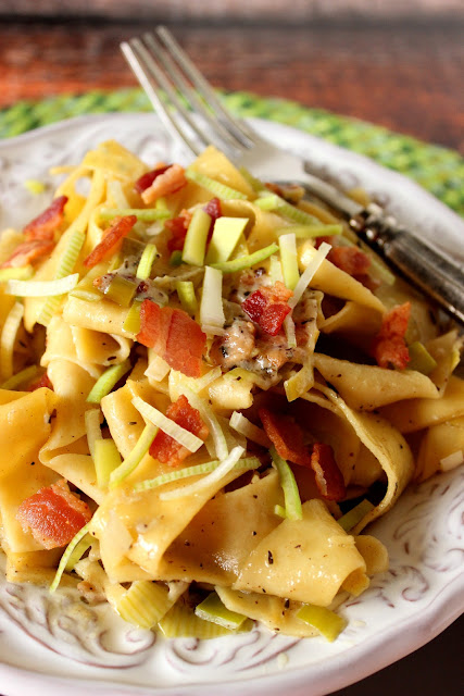 Pappardelle with Leeks and Bacon