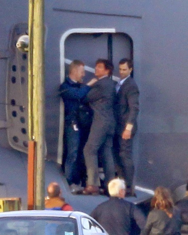 Tom Cruise was wearing a suit to be hung on the door of an Airbus A400M