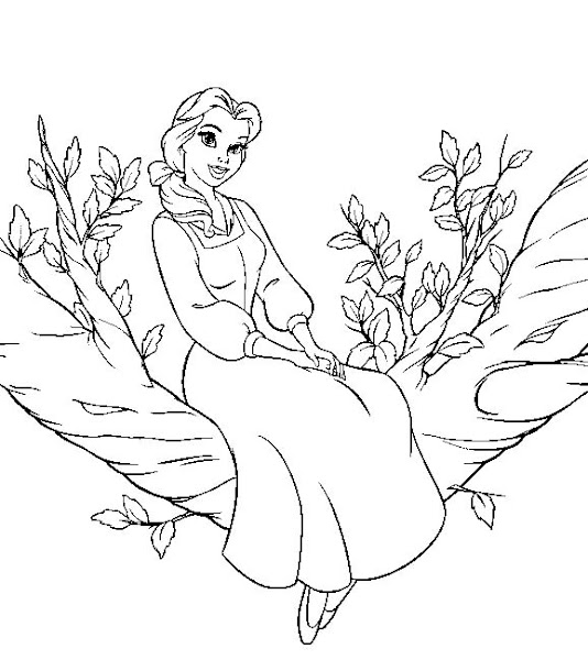 Disney Princess Belle Beast Coloring Page