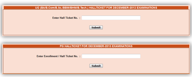 download hall ticket for anucde exams