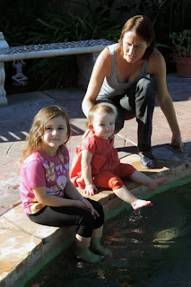 Christmas in California Cousins Mckenna and Bailee enjoy the pool.