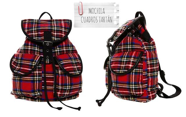 Mochila cuadros tartán - Pull and Bear