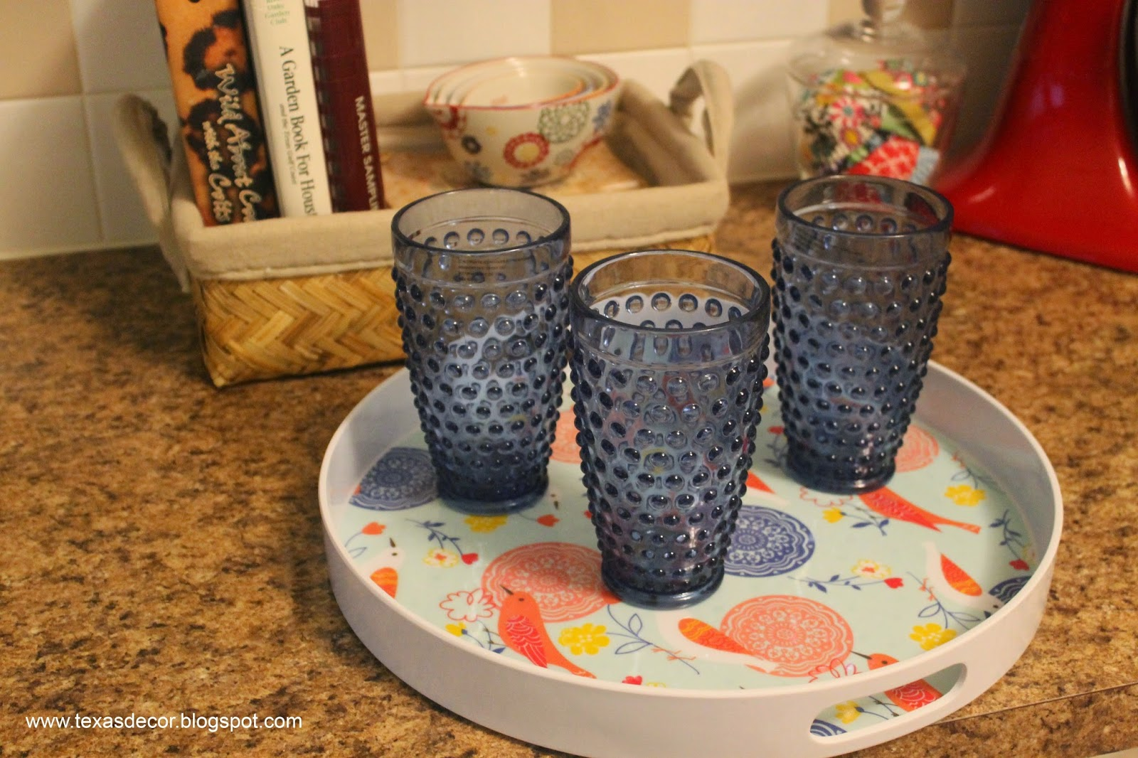 blue hobnail glasses
