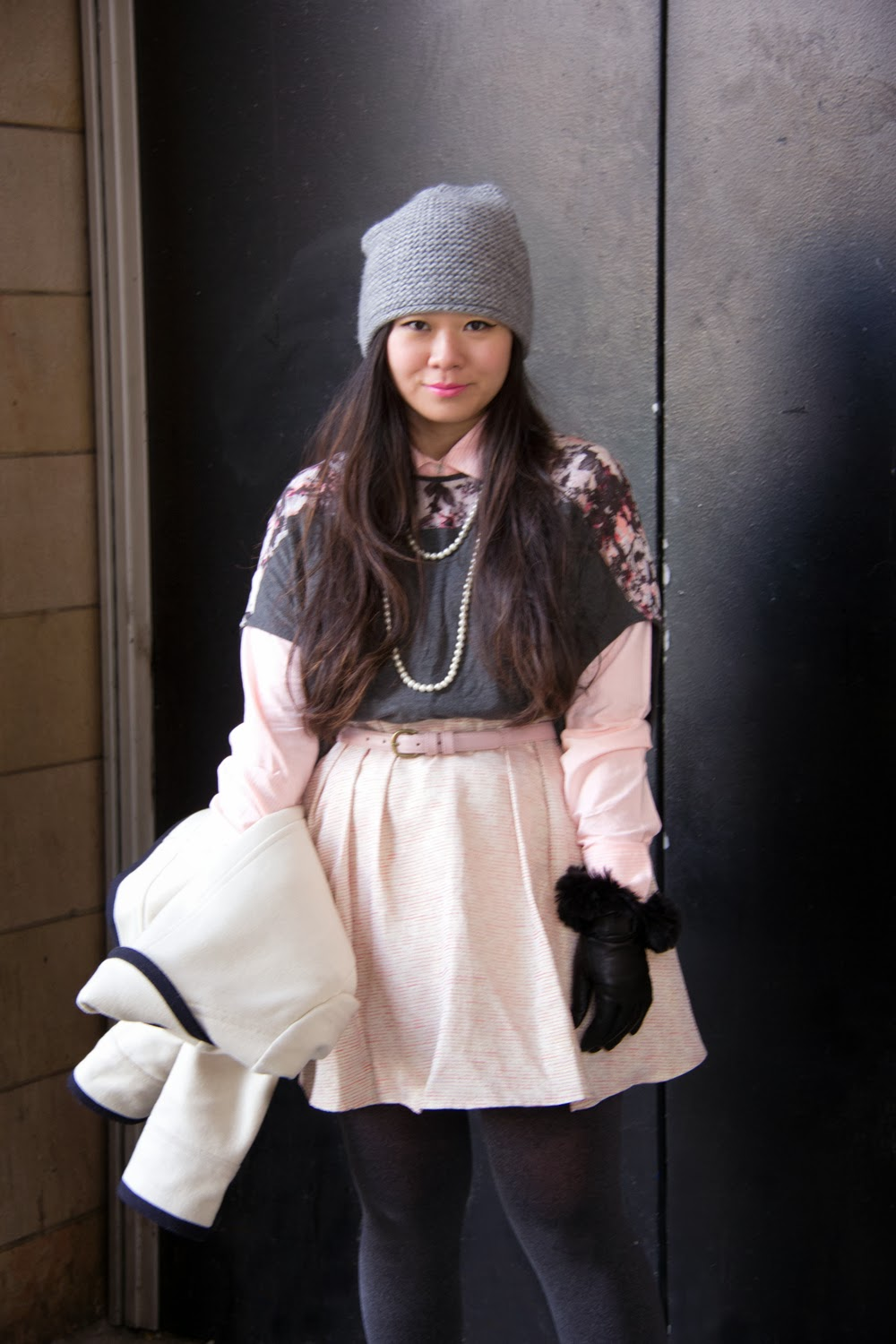 JCrew-Peacoat, Pastel-Pink-Skater-Skirt, LeChateau-Gloves, Pearls-Necklace