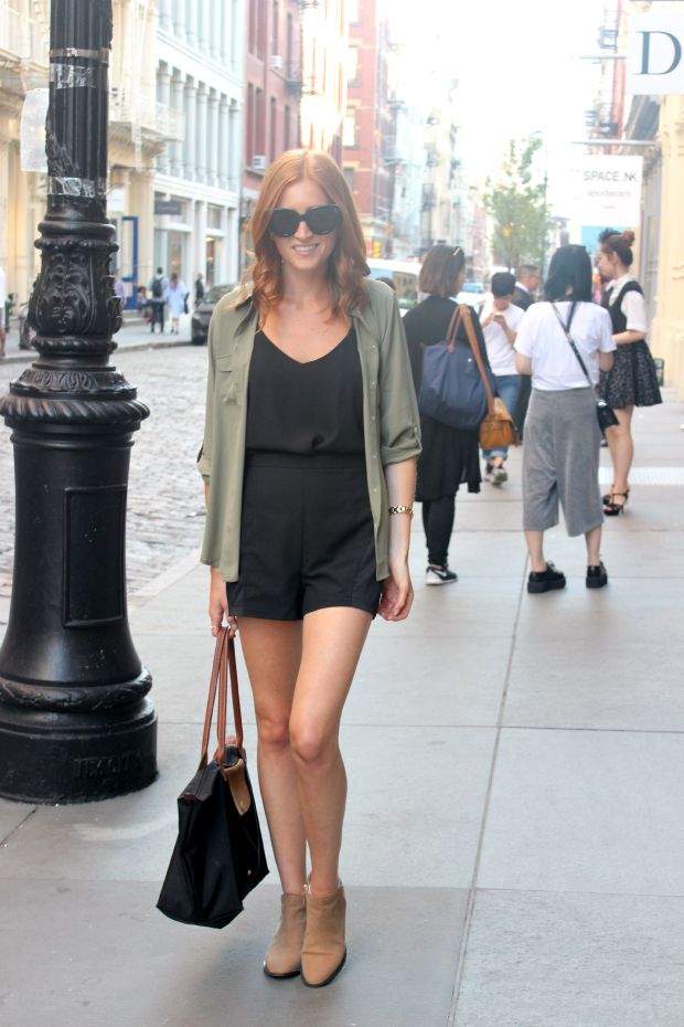 Army green blouse for fall, booties and shorts in SoHo