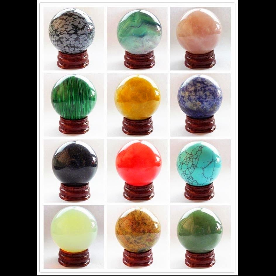 Wholesale! 40mm Mixed gemstone Round Ball decoration please Pick Stone! XJ-222