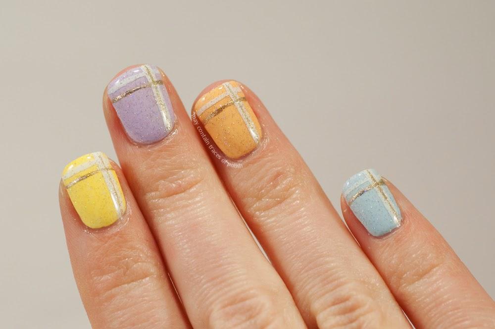 Pastel plaid nail art - May contain traces of polish