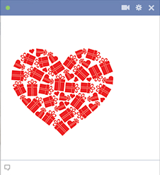 Facebook heart made of gifts