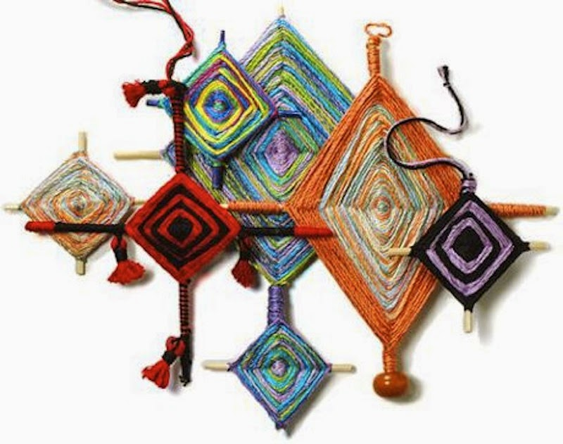Gods eye wool weaving crafts trashion helsinki for Mexican christmas ornaments crafts