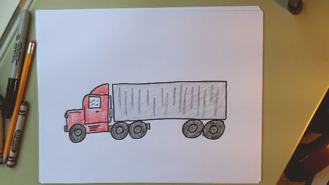 Learn to draw a transport truck! 18 wheeler, semi