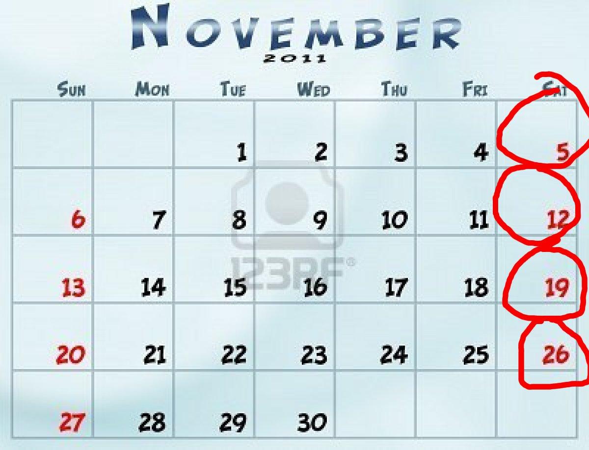 sunday through saturday calendar