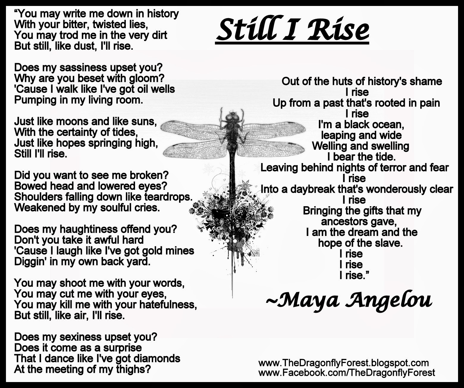 Still I Rise Maya Angelou Quote Maya angelou wrote a great
