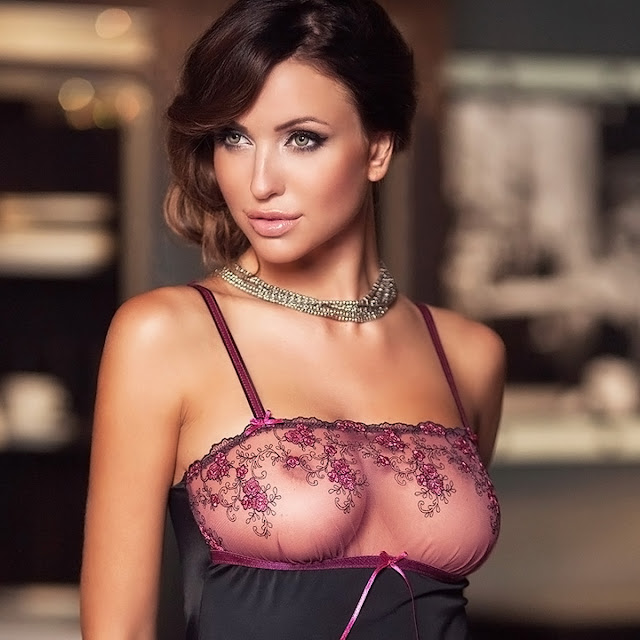 Monika Pietrasinska Big Boobs In Sexy See Through Lingerie Photoshoot