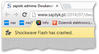 Błąd Shockwave Flash has crashed