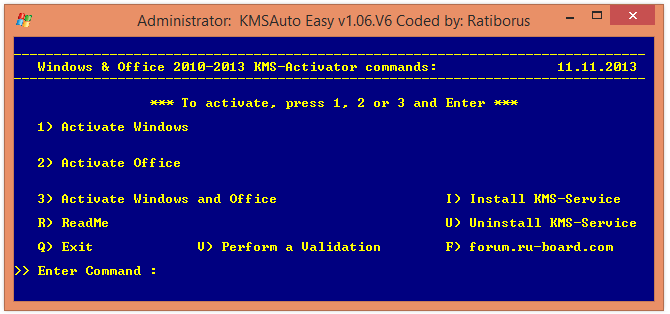 KMSAuto Easy v1.06.V6 Coded by: Ratiborus