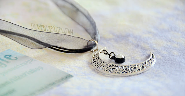 More photos of the beautiful, grunge-inspired Nyctophilia Crescent moon cords-and-ribbon necklace from Poison Tragic.