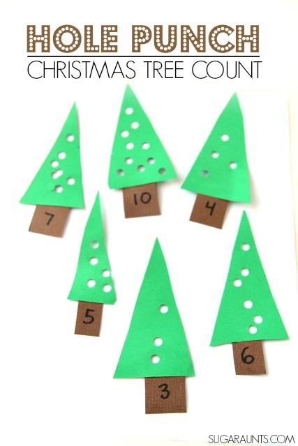 Christmas Tree Busy Bag Counting and proprioception activity
