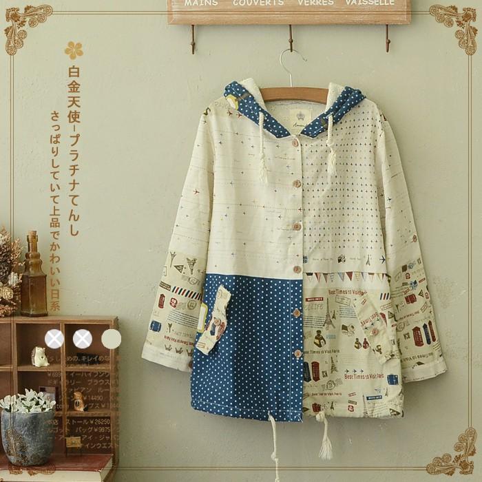 áo khoác mori girl họa tiết vintage phong cách nhật bản