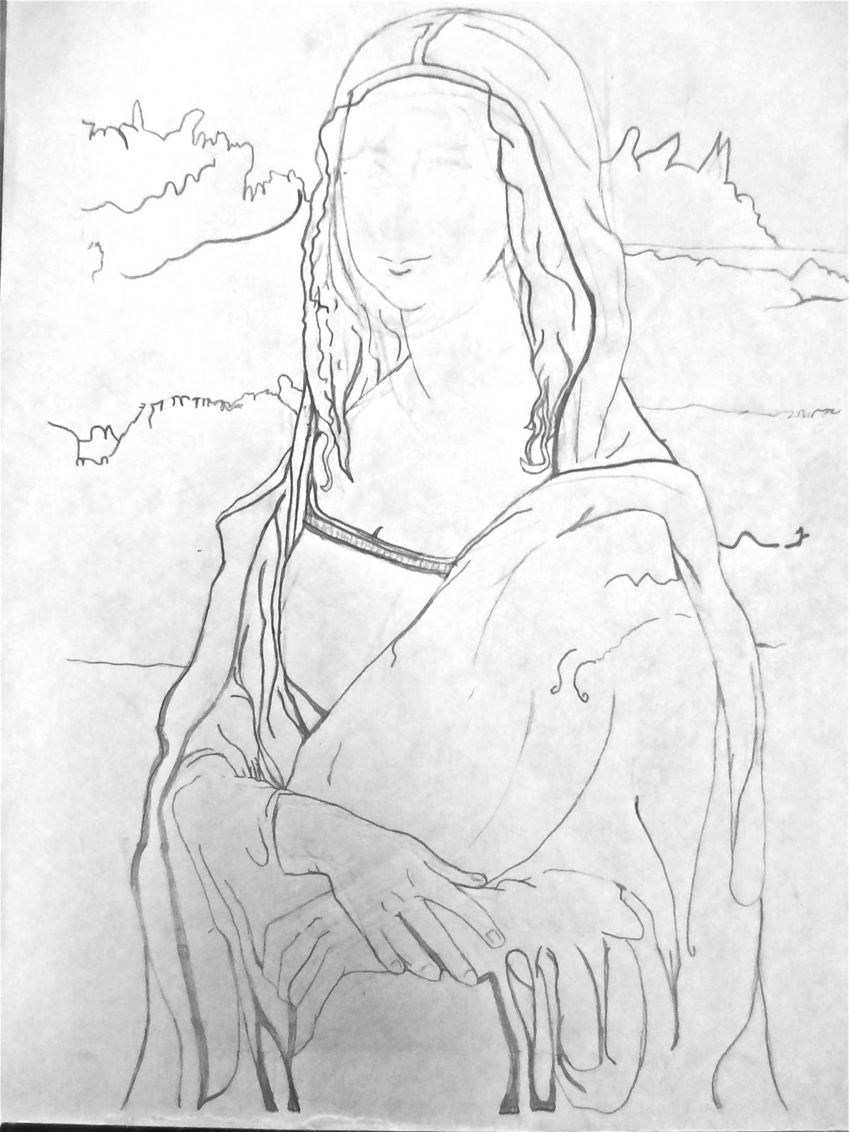 Contour Line Drawing Leonardo Da Vinci : Mona lisa contour drawing