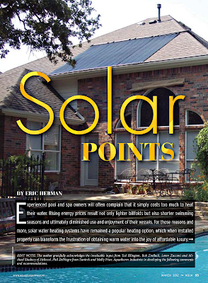 A recent AQUA Magazine article detailing solar pool heating facts.