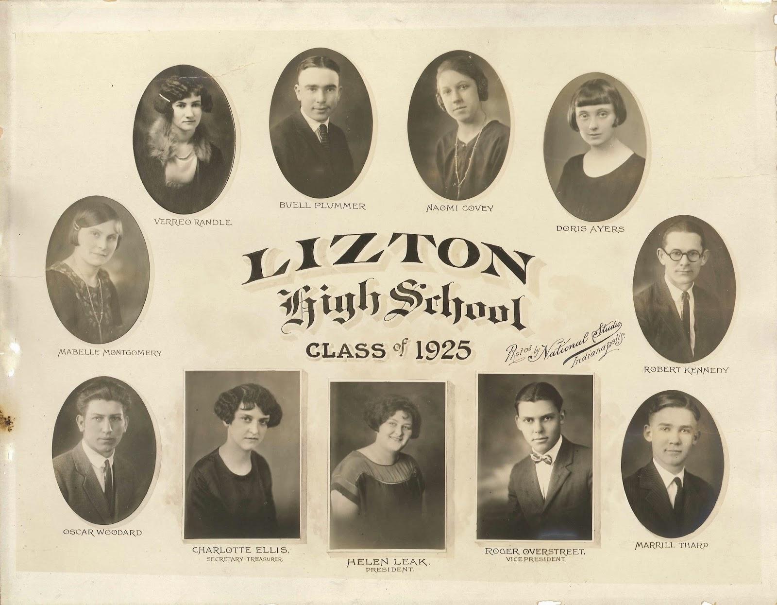 Indiana hendricks county lizton - Found Lizton High School 1925 Class Photo