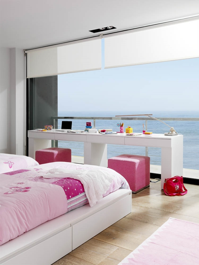 Modern kids room overlooking the ocean