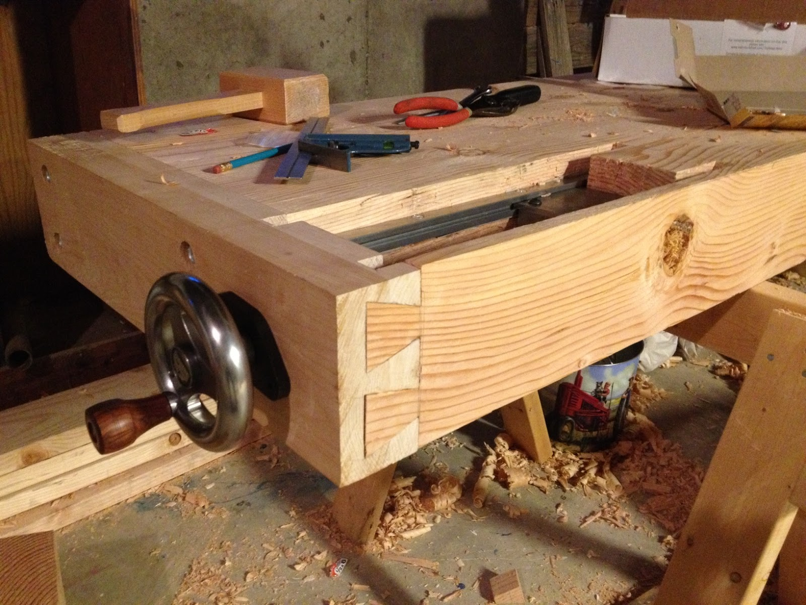 The Naptime Woodworker Workbench Tail Vise Installed