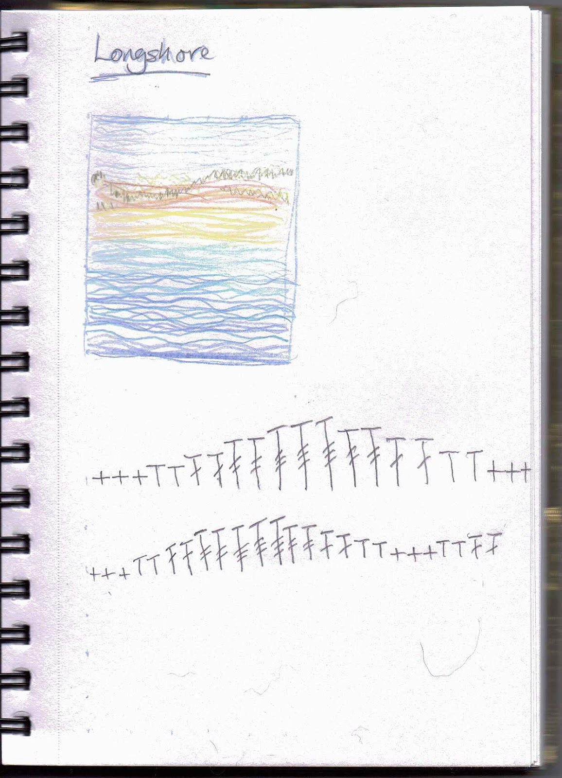 sketch of the longshore picture and crochet wave symbols