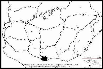 Mapa de la ubicacion de MONTEVIDEO, capital de URUGUAY, blanco y negro