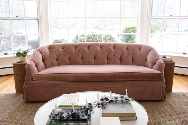 vintage pink tufted sofa via Meet Me in Philadelphia