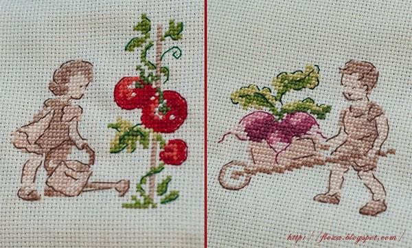 Dans mon jardin,  V. Enginger,  уют в доме своими руками, вышивка сепия, вышивка помидор редис
