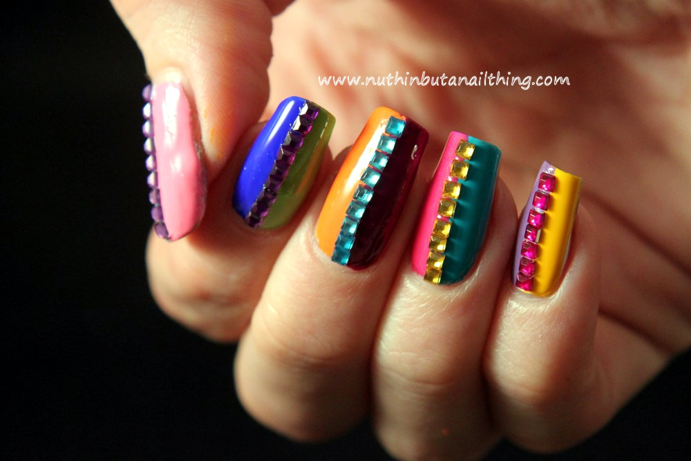 diamante rhinestone nail art