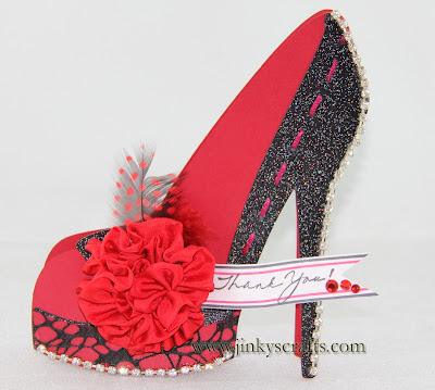 Red High Heel 3D Thank You Card