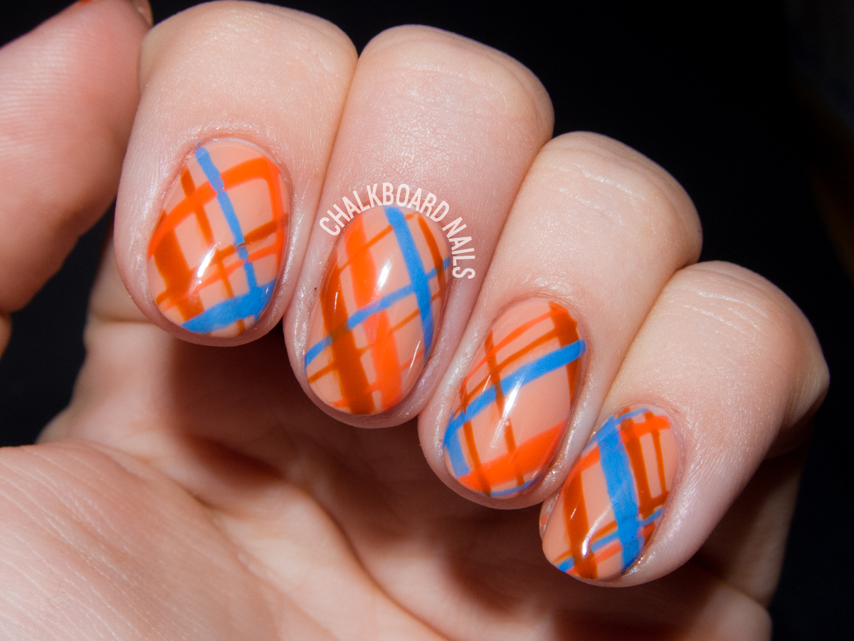 Autumnal Orange Plaid Gel Nail Art | Chalkboard Nails | Nail Art Blog