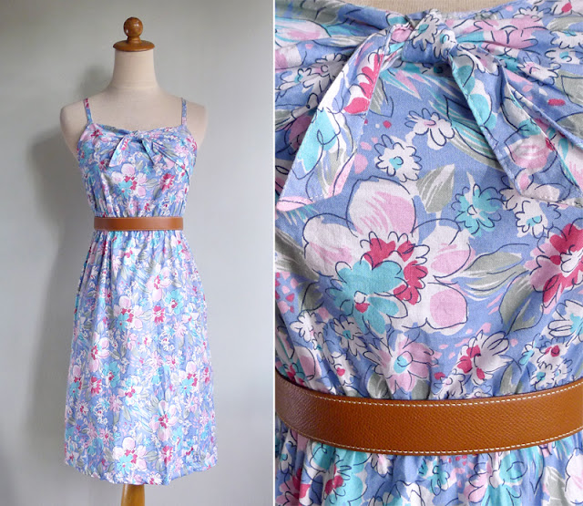 vintage 80's abstract floral strappy day dress