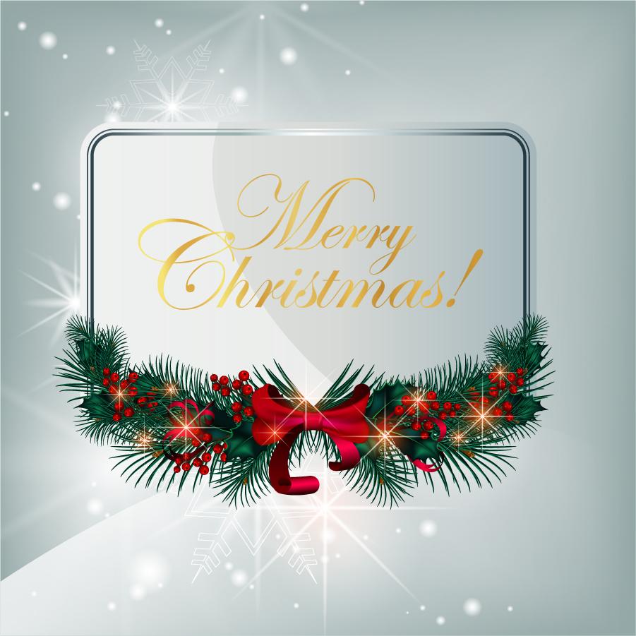 美しく輝くクリスマス飾りのフレーム Christmas Greeting Card Vector Graphic イラスト素材