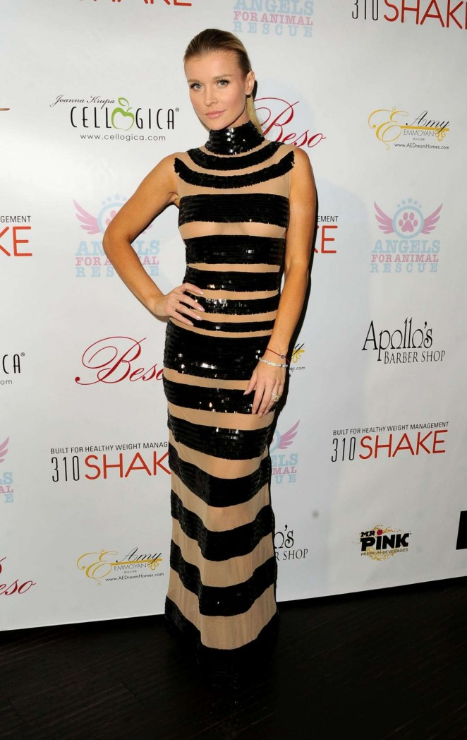 Joanna Krupa in a sheer sequinned dress at her Charity Poker Birthday Party in LA